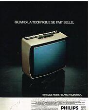 Publicité Advertising 1976 Le téléviseur portable noir et Blanc Philips 51 cm