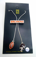"Cleveland Browns Silver  28"" Bolero Logo Necklace - NFL Licensed Jewelry Lariat"
