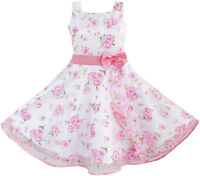 Girls Flower Pageant Dress 3 Layers Pink Wave Wedding Age 4-12 Sunny Fashion