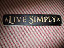 """Primitive Engraved Wood Message Block Sign *LIVE SIMPLY* Handmade Home Decor 9"""""""