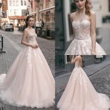 New Blush Sweetheart Wedding Dresses Applique Bridal Ball Gowns Custom size 4-26