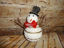 Vintage Christmas Tree Ornament Snowman Styrofoam Micro Beads Balls Glitter Stik