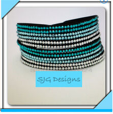 Fashion Leather Wrap bracelet with shades of Turquoise & clear rhinestones- NEW