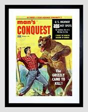 COMICS MANS CONQUEST GRIZZLY BEAR FIGHT KNIFE BLACK FRAMED ART PRINT B12X3299