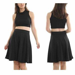 Womens Plain Knee Length Ladies Soft Stretch Flared Skater Midi Skirt Plus Size