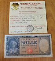 REPUBBLICA LIRE 1000 ITALIA MEDUSA 1961 BB+ NON TRATTATA SUBALPINA