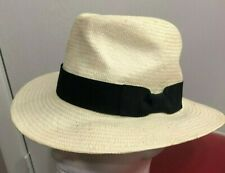 NICE Banana Republic White Straw Sun Hat w/ Navy Blue Band Ribbon size Small