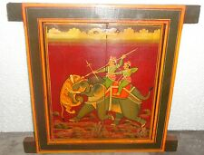 VINTAGE KING HUNTING SUBJECT RIDING ELEPHANT HAND PAINTED WOODEN WALL WINDOW