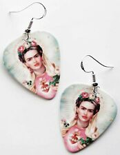 DAY OF THE DEAD FRIDA KAHLO GUITAR PICK EARRINGS! ALL SAINTS DAY LOS MUERTOS ART