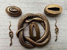 Nice A Set Copper Accessory Snake Tsuba Kashira Fuchi Menuki For Japanese Sword