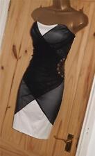 Jane Norman black cream satin strapless grecian drape bodycon gem dress 8 10