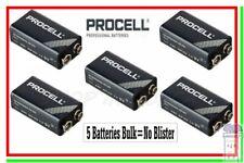 5 Duracell Procell 9v Batterie Transistor 9 volt 9 v block 6LR61 ID1604 6LF22