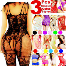 3 Women Bodystocking Sexy Lingerie Babydoll Bodysuit Sleepwear Stocking Dress US
