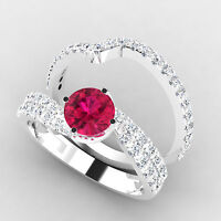 Round 1.50 Ct Natural Diamond Real Ruby Ring Gemstone Certified 14K White Gold