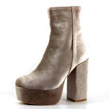 Missguided Womens UK 3 EU 36 Taupe Velvet Platform High Block Heel Ankle Boots