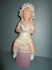 "Early Antique Original 11"" Heubach Bisque Girl Piano Baby Nm+"