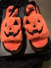 Strange Cvlt Lilly Jack Fur Slides Orange Platforms US Size 6 NEW Pumpkin