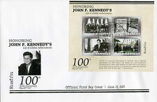 Niuafo'ou 2017 FDC John F Kennedy JFK 100th 4v M/S Cover US Presidents Stamps