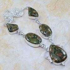 multicolor Jaspe Piedra Preciosa 100% PURE plata de ley 925 Collar 47.6cm 17027