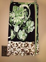 $750 Emilio Pucci Italy Black Floral Animal Print Logo Wrap Silk Knit Skirt 40 S