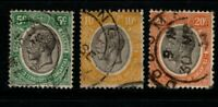 Tanganyika 1927 King George V 5c, 10c, 20c SG93-94, 96 Used