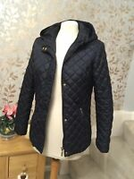 F&F Quilted Hooded Jacket Uk 8 Womens Navy Blue Padded Coat Worn Twice