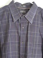 St. Johns Bay Men's XL Button Up Long Sleeve Gray Plaid Jasper Twill Shirt