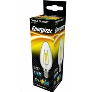 Energizer Dimmable 5W = 40W LED Candle Filament Light Bulb Small Edison Screw