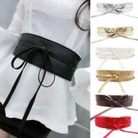 Soft Leather Women Ladies Wrap Around Tie Corset Cinch Waist Wide Dress Belt UK