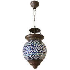 Hängeleuchte Mosaik Lampe Rund Orientalisch Marokko Dekoleuchte Bunt Color Blau