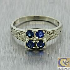 1930s Antique Art Deco Estate 14k Solid White Gold .40ctw Sapphire Cluster Ring