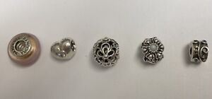 Lot Of 5 Sterling Silver Pandora Charm Beads Assorted