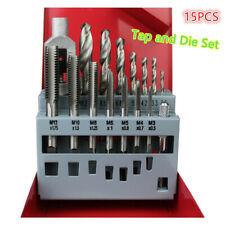 15pcs M3-M12 Drill Metric Tap and Die Set Thread Cutting Edge Holder Repair Tool