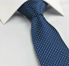 Blue Tie NEW Silk Solid Geometric Silver Black Premium Essential cl24