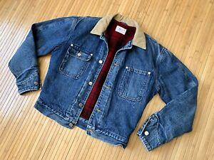 Vintage POLO Ralph Lauren Denim Jean Jacket WOOL LINED Plaid Small Made In USA