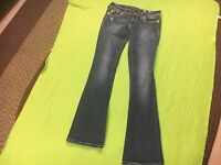 Miss Me Women's Dark Denim Frayed Boot Jeans. Size 27