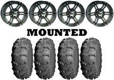 Kit 4 ITP Mud Lite XL Tires 26x9-12/26x12-12 on ITP SS212 Matte Black Wheels IRS