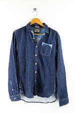 Tommy Hilfiger Denim Herren Hemd Gr. S Langarm Karo Shirt Blau