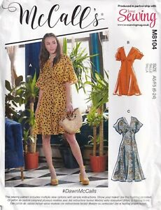 McCalls Sewing Pattern 8104, EASY Dress #DawnMcCalls, Button Front Size 6 - 24