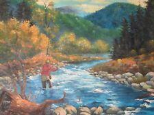 Pesca en río Pescado gran pintura al Óleo Lienzo Arte Original Paisaje Bosque