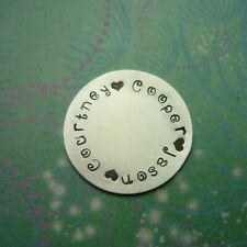 *Personalised Hand Stamped Disc 19mm - Silver Aluminum