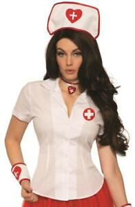 Sexy Nurse Shirt White Doctor Fancy Dress Up Halloween Adult Costume Accessory