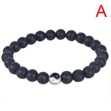 Men Women Natural Gemstone Beads Stone Yin Yang Beaded Bracelet Jewelry GiES