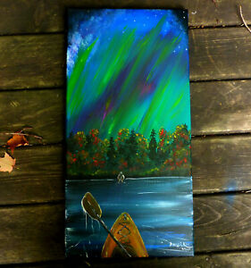 "Solo Night Kayak,Aurora, Sasquatch, Fall,Original Acrylic Painting.12""x 24"",Kivi"