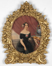 """Mme Aimee Zoe Lizinka d Mirbel-School """"Portrait of a Lady"""", Watercolor, ca.1835"""