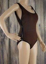 DKNY Donna Karan Maillot Swimsuit One Piece Peek A Boo Cognac Black Size 12