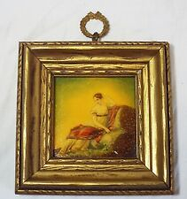 Old Antique Victorian MINIATURE OIL PAINTING ON PORCELAIN Lady Sitting Framed