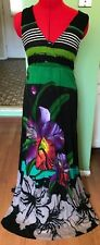 DESIGUAL DRESS INFINITO MAXI LONG V NECK CUT OUT LACE FLORAL BLACK SIZE S SMALL