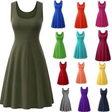 Summer Women Sleeveless Crew Neck Tank Dress Casual Solid Loose Slip Dress