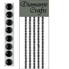 165 x 3mm Black Diamante Self Adhesive Strips Rows Rhinestone Craft Gems